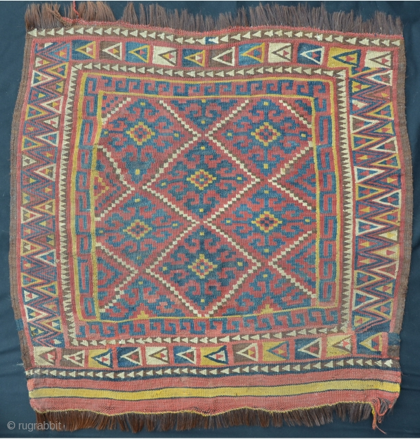 Uzbek flatweave with goat hair warps, 95 x 88 cm