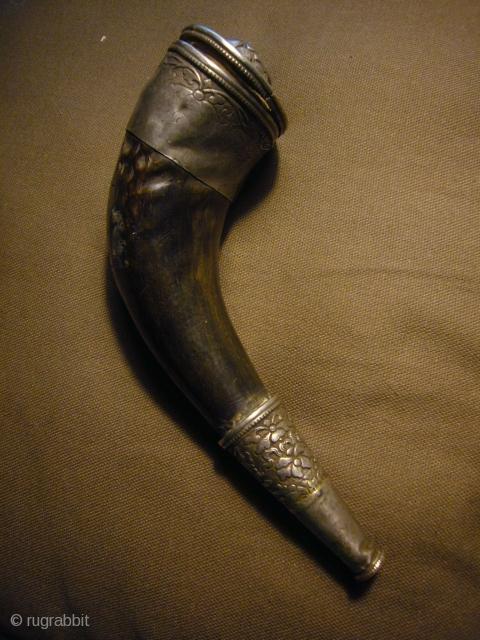 Yak Horn Silver~Snuff Bottle 19th century Tibet.