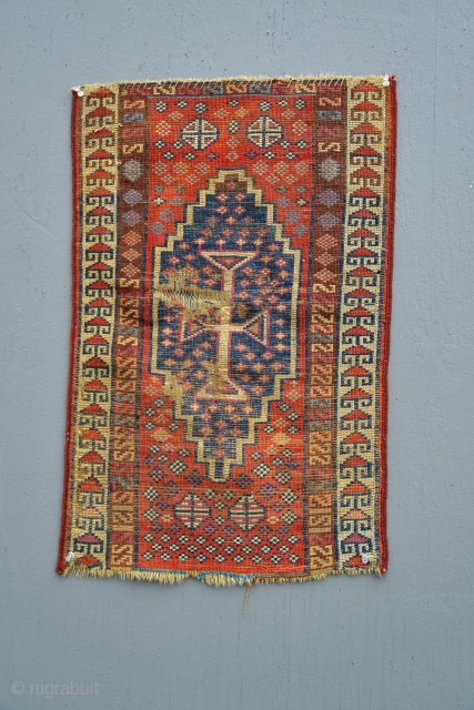 Early Armenian Yastik fragment with great colors including insect cochineal and apricot dyes. 18 x 28 inches.