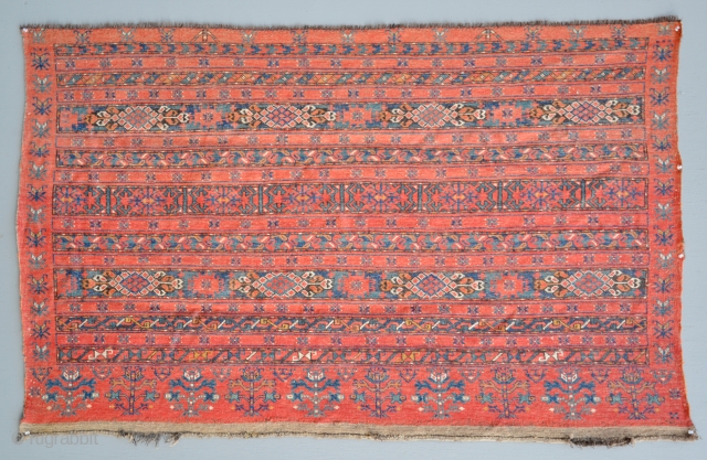 Large Ersari or Kizil Ayak Chuval Tent Panel. Early 19th C. Turkmenistan. 48 x 75 inches. For Similar Chuval please see Erik Risman's collection at Christie's London, Sale 7960, item# 153