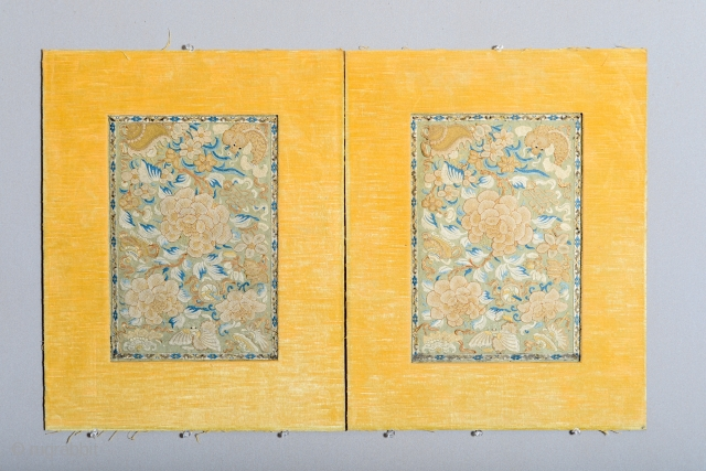 Pair antique Chinese embroidery  each 24 x 15.5 inches