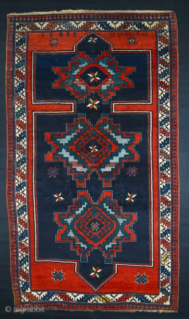 Antique inscribed Armenian rug dated 1908. 4x8.