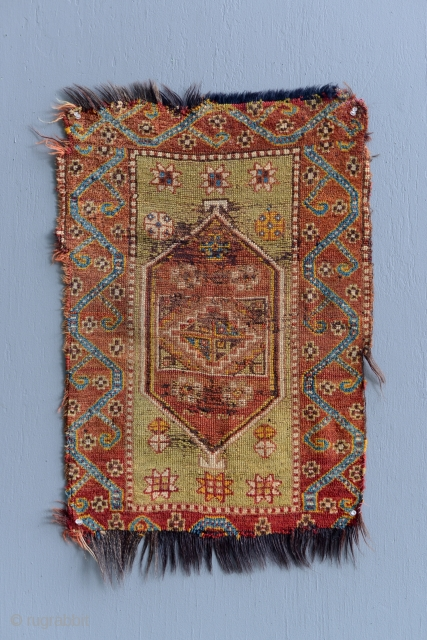 Antique Anatolian Yastik with unusual horse hair foundation