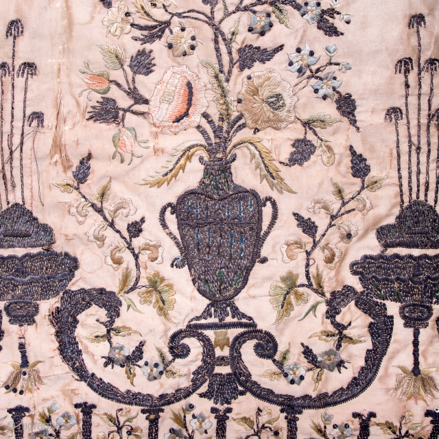 Antique 18th Century European silk and metallic embroidery