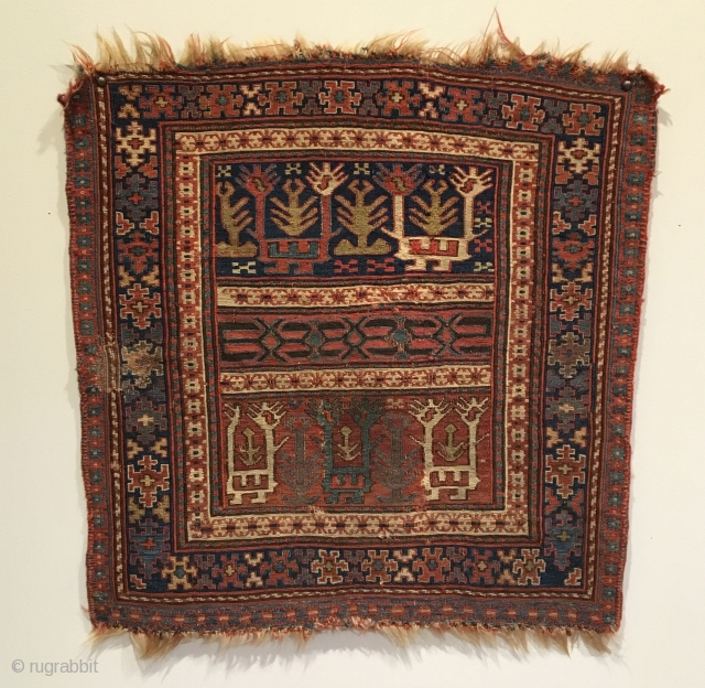 Shahsavan/Kurd Soumak Bagface.  2nd Quarter 19th Century.  Turtle border encloses two rows of fantastic animal group creatures separated by elongated birdhead motif bar.  23 x 22.  9 Colors.  ...