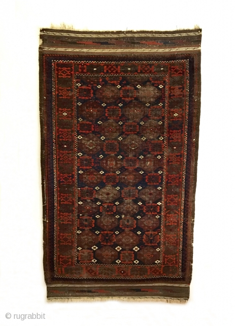 Antique Salar Khani Khorasan Baluch Rug.  Last Quarter 19th Century.  All over brown gul corrosion.  A true beauty of wall art.  Great condition for age.  4 cord  ...