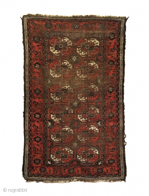 Antique Baluch Rug. Turkmen gols. Early 19th century. Original goat hair selvages, slight loss to ends. Beautiful border with wear to center as shown. 4' x 6'7. 5 colors. Carefully hand washed.  For  ...