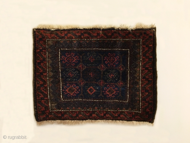 """Timuri Baluch Bagface. Last Quarter 19th Century. Excellent condition. Original four sides. 6 colors. 1'6"""" x 2'3"""". Delicately hand washed."""