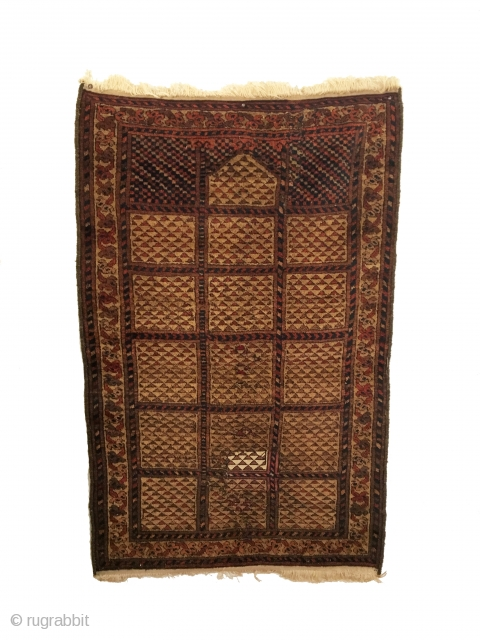 Rare Antique Turkmen Prayer Rug. 2nd Half 19th Century. Camel ground. One minor expert reweave lower field. Both ends rewoven. 4 colors. 2'7 x 3'11. Carefully hand washed.