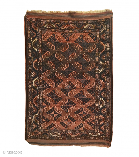 Antique Turkmen Yomud Small Rug. Last Quarter 19th Century. Abrashed field of Dyrnak motifs.  Original 4 cord goat hair selvedge + kilim ends. Excellent condition. 7 colors. 3'1 x 4'8. Carefully  ...