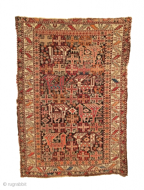 Antique Caucasian Shirvan Rug. Last Quarter 19th Century. Akstafa like bird field. Very good condition with slight loss to three sides. 11 colors. 3'8 x 5'3. Carefully hand washed. Stunning wall hanging.