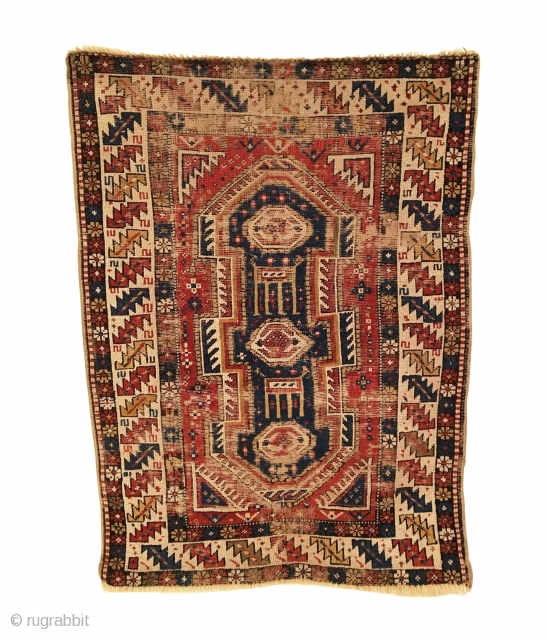 Antique Shirvan Keyhole Rug. 2nd Half 19th Century. Captivating serrated leaf border creates a vortex through the deep blue Keyhole medallion into a starry night sky. Good condition with soft, blanket like  ...