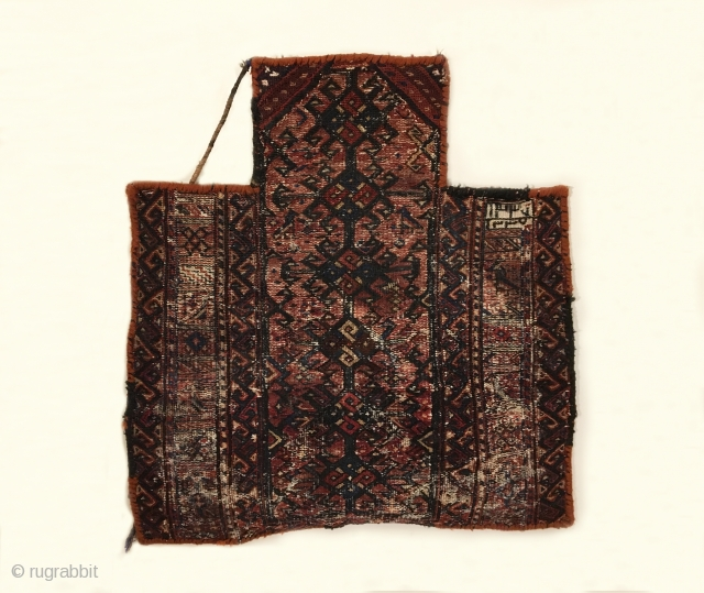 Antique Bakhtiari Salt Bag.  Early 20th Century.  Two woven dates seen.  opposing bird head meadnering border enclosees field of horned birds heads surrounding bird tree.  This is a  ...