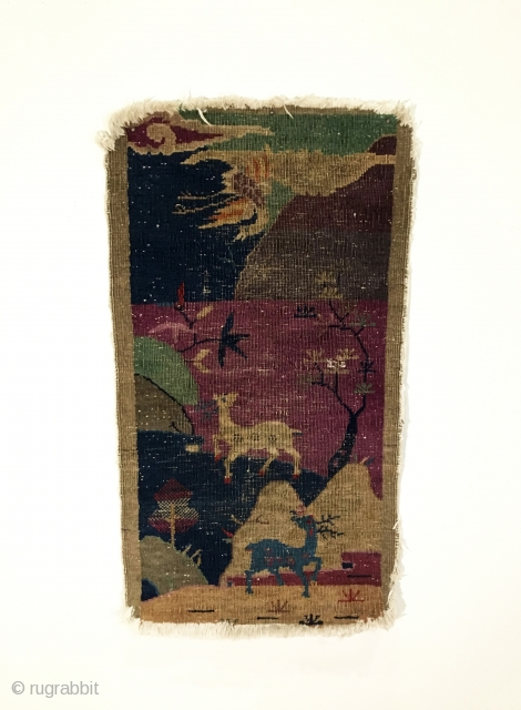 Small Chinese Rug.  Animal mountain scene.  Circa 1900.  Wool on cotton.  Loss to four corners.  Even wear.  10 colors.  45.5 x 25in.  Delicately hand  ...