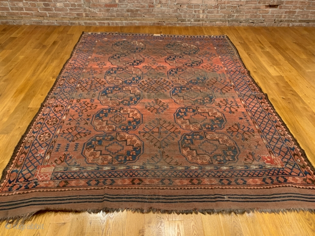 Antique Ersari Main Carpet. Mid 19th Century. 2x6 Gulli Gol field design. Large orange and blue gols are separated by totemic bird tree diamond as a secondary gol. Of interest viewing carpet  ...
