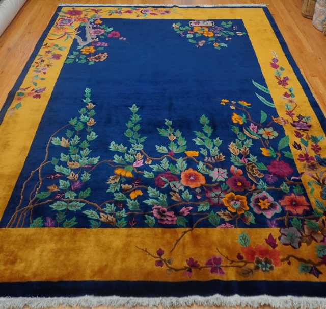 """Antique Art Deco Chinese oriental rug, size is 8'8"""" x 11'6""""ft. (264 x 350cm.) excellent original condition, full pile through out the rug, no repairs, hand washed and cleaned professionally just recently.  ..."""