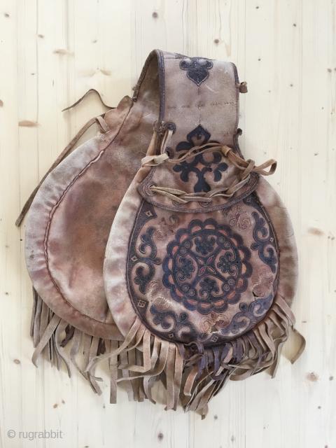 Kirghiz leather saddle bag