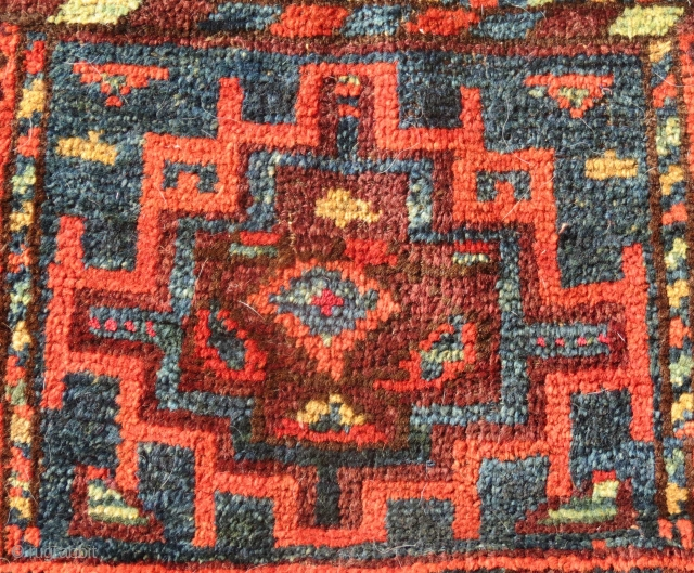 """Detail - Baluch Bag (1/2 of a small """"khorjin""""/donkey bag), W. Afghanistan, 19th Century, 17"""" x 13.5""""  A very colorful Baluch bag from W. Afghanistan, approx 1/2 of a khorjin (donkey bag), the  ..."""