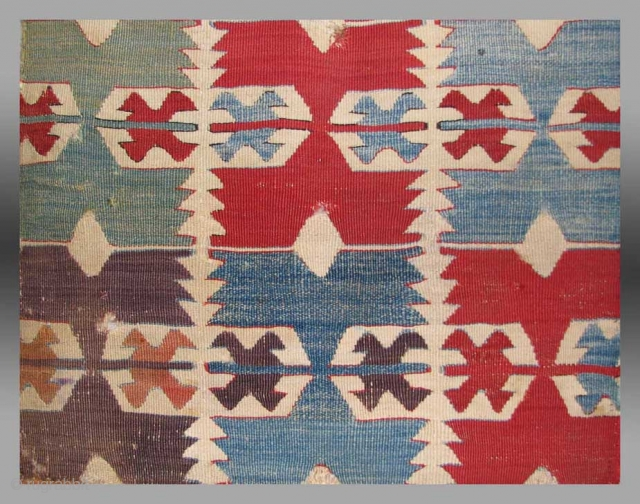 Anatolian Kilim Fragment, Central Anatolia, 19th C.