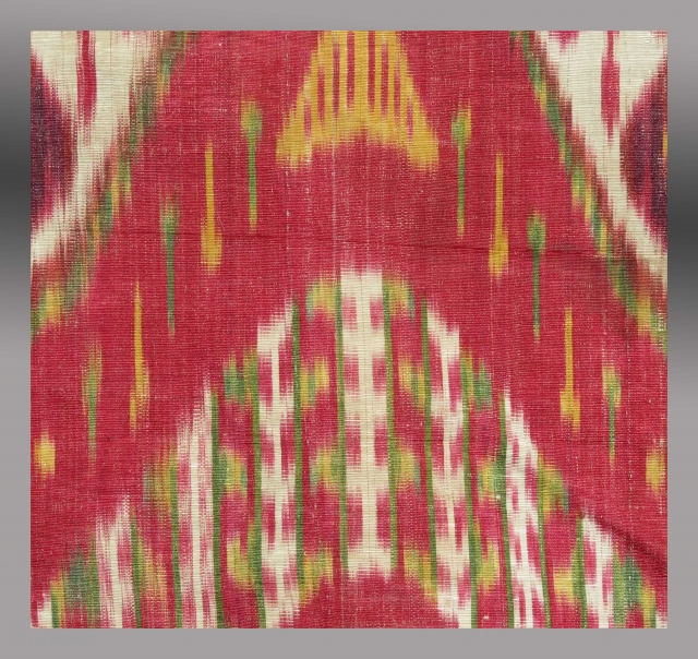 """Silk Ikat Panel, Central Asia, mid 19th C., 12"""" x 24""""  Please inquire for further information and images."""