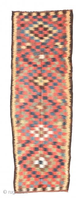 "kilim, runner, veramin, persia, ca. 1900, 330 x 111cm, 12'10"" x 4'8"""