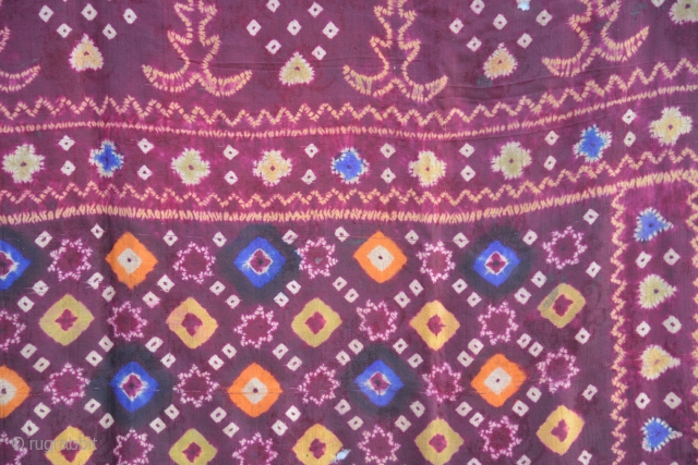 Beautiful old plangi/tie-dyed silk shawl from Bali. 