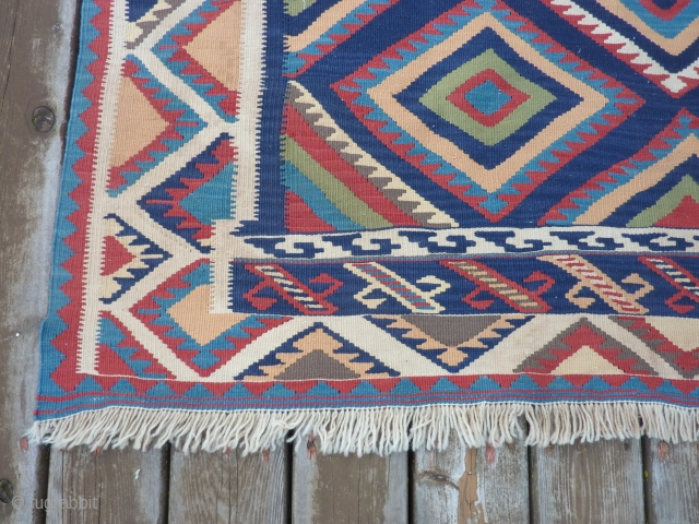 "Qashqai Kilim 57"" x 79""  Vibrant colors, very slight soiling and no other problems. $400 plus shipping"
