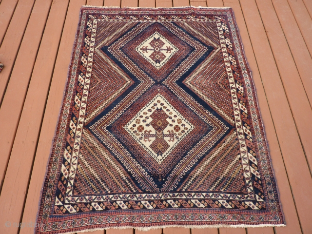 "Antique Afshar 48""x 62"" intricate pattern with some wear spots and/or oxidation. Price reduced as of 3/25 to $250.00 plus shipping. NO LONGER AVAILABLE."