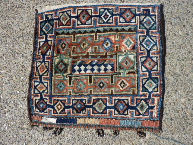 """Distinctive Kurdish Bag 21"""" x 21&1/2"""" I've never seen this pattern elsewhere. Clean and in excellent condition,  SOLD--THANK YOU."""