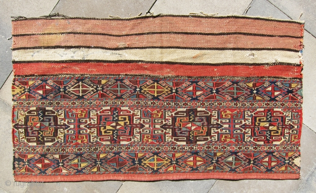"""Old and rare Shahsavan large panel, great design and color combination, size is 3'-8""""x1'-6""""."""