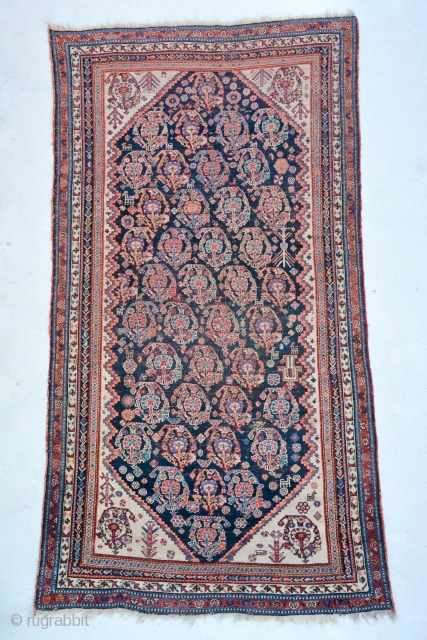 Qashgai Rug, boteh pattern, low pile some worn areas as well but still a good piece, size is 227 x 123 cm