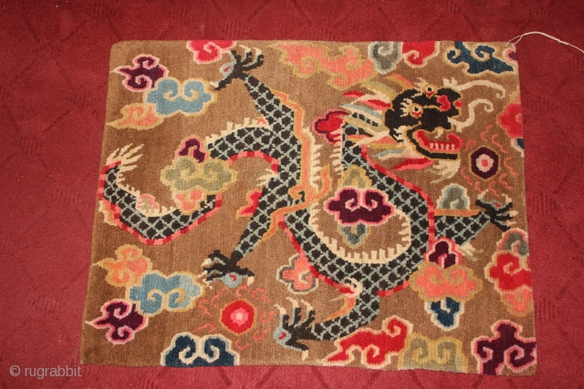 Single Dragon holding Precious jewels surrounded with clouds. !920 Circa.Tibet