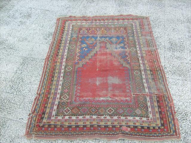 antique mudjur rug, red mihrab 170x125 cm