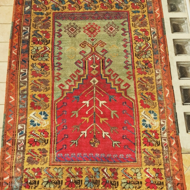 ANATOLIAN   KONYA  PRAYER  RUG  ANTIQUE CM 1.60 X 1.12 1880 /90 