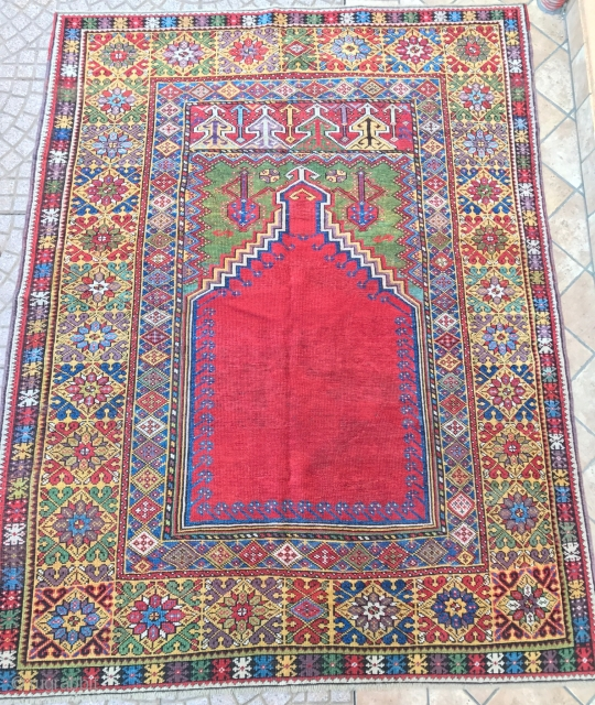 Antique  anatolian mucur  prayer rug. . cm 1.70 x 1.33 19th century. good  condition  original  size