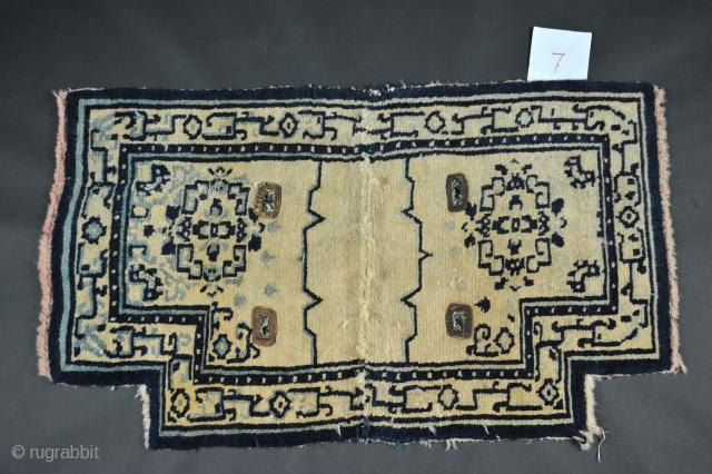 antique Tibetan saddle rug cm 110  x  062  circa  1900
