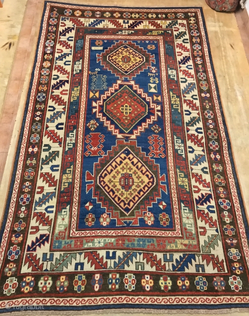 ANTIQUE  CAUCASIAN  KAZAK CM 2.50 X 1.50  1880  CIRCA GOOD  CONDITION