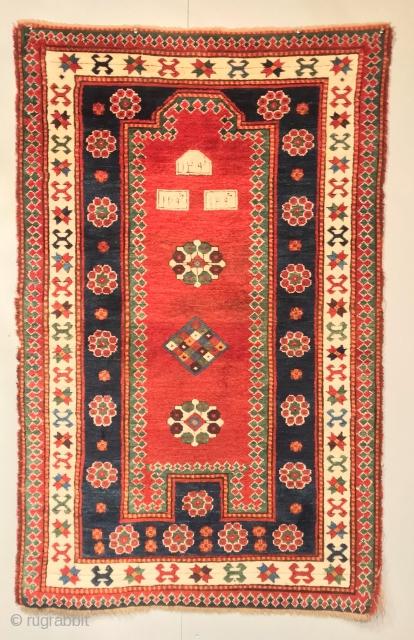 CAUCASIAN KAZAK  FACRALU  CM 1.80X 1.13 1872  FULL PILE IT NEEDS ONLY RESTORATION  BORDURES