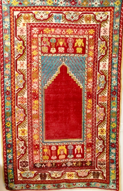 ANATOLIAN  KIRSEHIR  PREYER   RUG  CM 160 X 1.30   1920 /1930  CIRCA   GOOD  CONDITION