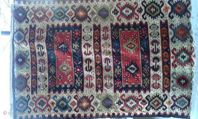 Antique early 20th century Pirot Sarkoy kilim.
