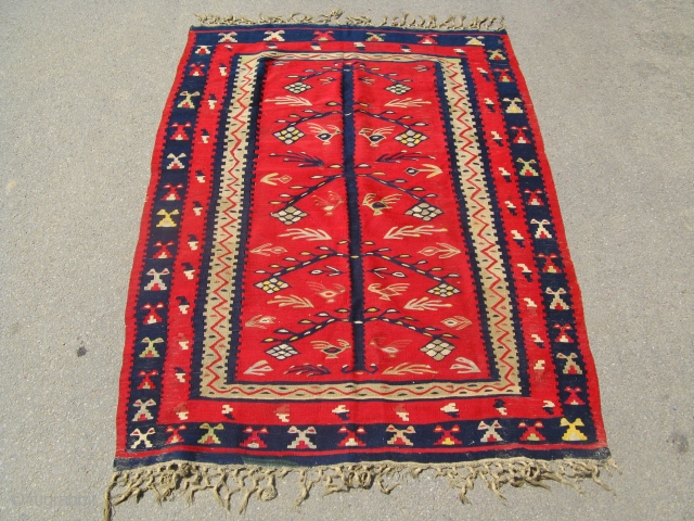 Antique mid 19th century prayer Pirot Sarkoy kilim with very nice three of life central motif. Stunning condition! 145 x 110 cm
