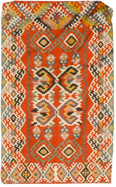 One of the most beautiful Vojvodina kilim I have seen, splendid colors, bordjalu like border. 19 th century. 