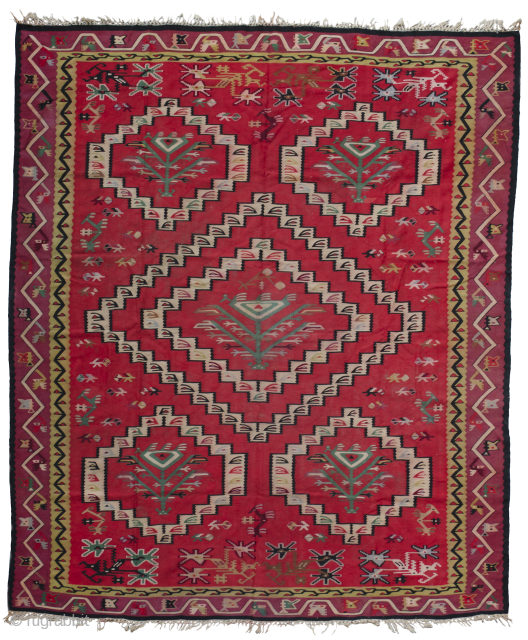 Large antique Sarkoy, Pirot kilim with 6 mirhab like medallions and 5 trees inside them.