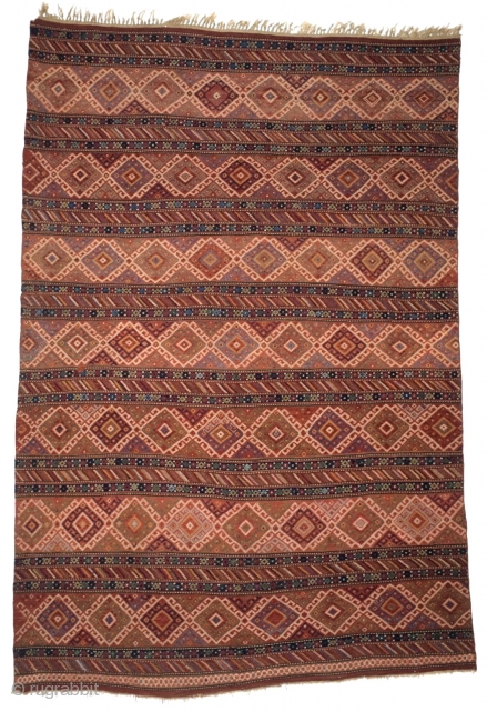 # 203 Azeri Flatweave, 163/245 cm, Azerbeijan, late 19th century, very nice natural dyes, a bit Brown corrosion, one old repair, otherwise in good condition, cf. Eder, Caucasian Carpets, # 461! Please  ...