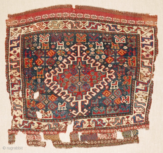 # 1036 Two Khamseh Khorjin Fronts, 72/66, 74/63 cm, Southwest Persia, late 19th century, sewn on linen, beautiful colours, creative motifs!  