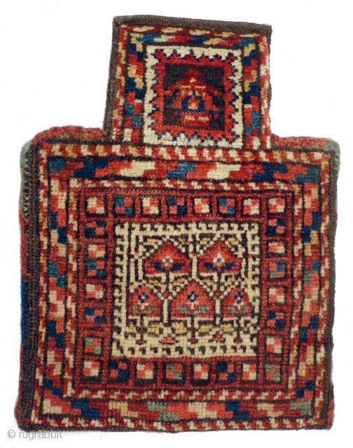 # 886 Unique Kordi namakdan, 35/45 cm, Khorasan, 1st quarter 20th century, good condition, one of the most interesting salt bags with a rare birth motif! Please take a look at our  ...