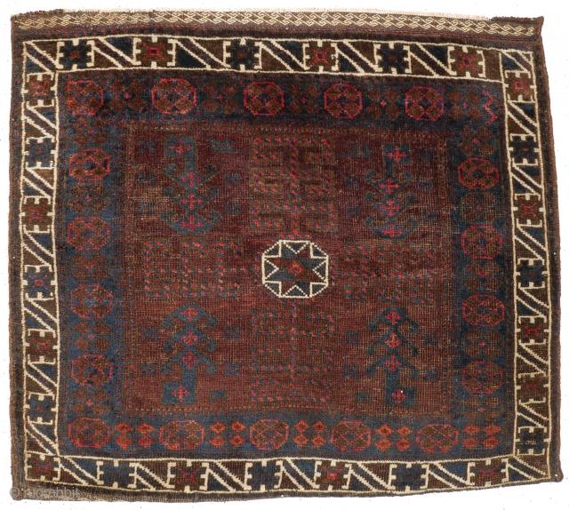 # 1105 Baluch Khorjin Half, 77/68 cm, Khorasan / West Afghanistan, ca. 1900, interesting field variation, glewing dark natural dyes, fair pile!