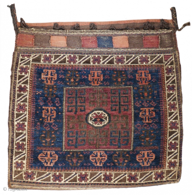 # 1067 Baluch Khorjin Half, 77/77 cm, West Afghanistan, ca. 1900, rare field motifs, beautiful Blue, nice striped back side!