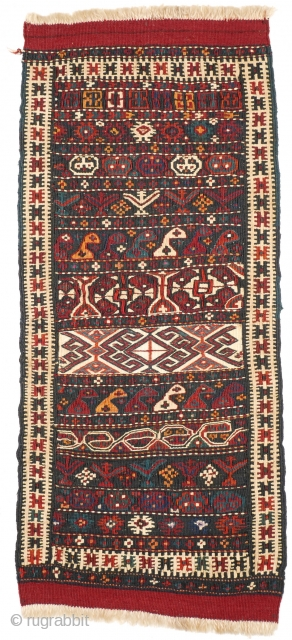 "This is one highlight of our Autumn Exhibition 2017 ""Inventions - Variations"": # 1131 Kordi Flatweave Balisht, 31/72 cm, Darreh-Gaz-area, Khorasan, Northeast Persia, 1st quarter 20th century, magnificent dowry piece in mint  ..."