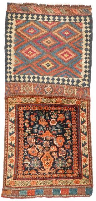 1093 Kurdish khorjin half, 58/129 cm (opened), West Persia, last quarter 19th century, rare design, wonderful back side, some small repairs. For a complete overview please look at our website: www.oriental-textile-art.de /  ...